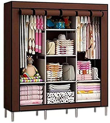Aventure Fancy and Portable Foldable Iron Closet Storage Organizer with Shelves (4.1ft, Multicolour)