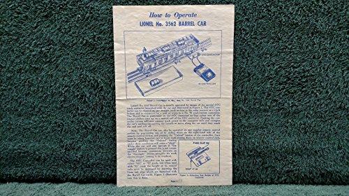 LIONEL # 3562 BARREL CAR INSTRUCTIONS PHOTOCOPY ,#G14E6GE4R-GE 4-TEW6W266195