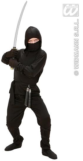 Boys Ninja Fancy Dress Black Costume Outfit Samurai Warrior Karate Age 5-13