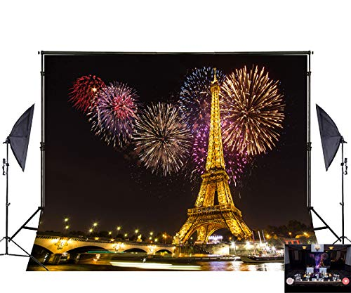 7x5ft Cotton Polyester Night Paris Light Eiffel Tower Colorful Fireworks Wedding Decorations Photography Backdrop Seamless No Creases Folding and Washable Photo Booth Background]()