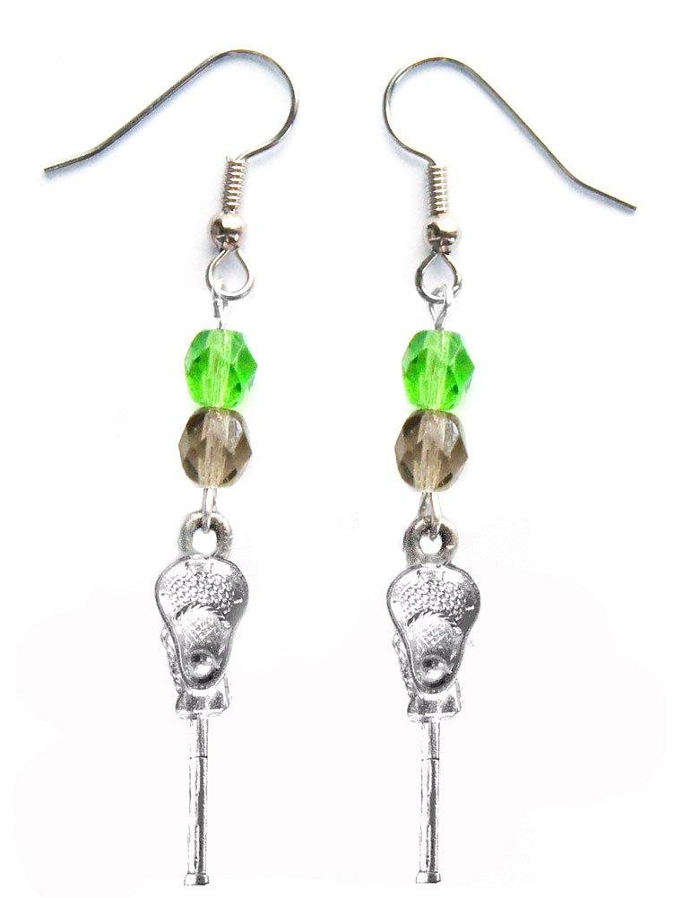 ''Lacrosse Stick & Ball'' Lacrosse Earrings (Team Colors Kelly Green & Grey)