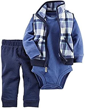 Carters Baby Boys 3-pc. Navy Plaid Vest Set