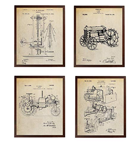 - Turnip Designs Windmill 1883 Farming Tractor Bulldozer Patent Poster Farmhouse Decor Ultimate Farming Equipments Wall Art Vintage TDP245