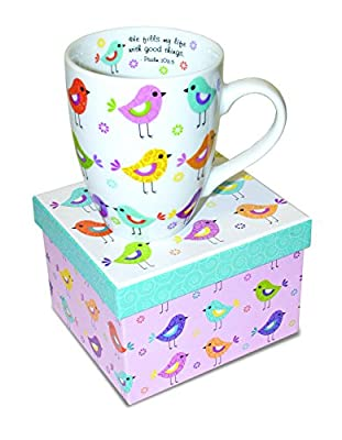Divinity Boutique Inspirational Ceramic Mug with Birds - Psalm 103:5, He Fills My Life With Good Things, , Multicolor