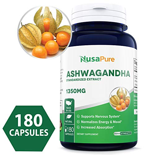 Ashwagandha 1350mg 180caps (Non-GMO, Standardized Extract & Gluten Free) Stress Relief, Anti-Anxiety & Adrenal, Mood & Thyroid Support (Best Weed For Anxiety And Panic Attacks)