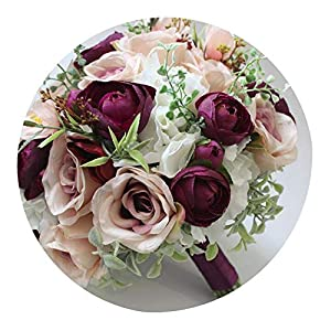 Home Decoration Artificial Rose Party Wedding Bouquets for Bridesmaid Bride Hand Made Multi Color Bridal Flowers,Same as The Picture 95