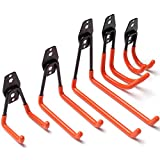 Heavy Duty Garage Storage Utility Hooks for Ladders & Tools, Wall Mount Garage Hanger & Organizer - Tool Holder U Hook with Anti-Slip Coating (5 Pack, Orange)