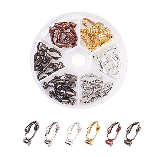Kissitty 36pcs/Box 6 Colors Brass Stud to Clip on Earring Converter 19x6mm for Non-Pierced Ears