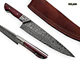 RK-2120 Style Damascus Steel Chef Knife – beutifull Merindi Wood Handle with Demascus Steel Bolster