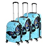"Generic 20/24/28"" 3 Pcs Set 4 Wheels PC Spinner Suitcase White /Blue/Pink Butterfly Travel Luggage Set (20""/24""/28"" 3PCS Set, Blue butterfly)"