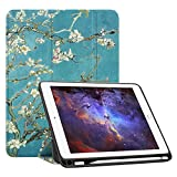 Fintie iPad 9.7 2018 Case with Built-in Apple Pencil Holder - [SlimShell] Lightweight Soft TPU Back Protective Stand Cover with Auto Wake/Sleep for Apple iPad 2018 9.7 Inch (6th Gen), Blossom