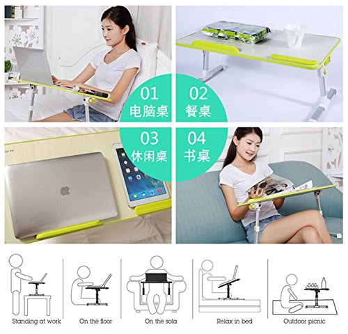 Muzyo Computer Desk Desk Lazy Person Notebook Computer Bed Up Desk Foldable College Dormitory Writing Small Table, 4 by Muzyo (Image #4)