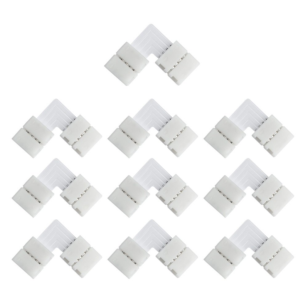 LightingWill 10pcs Pack T Shape Solderless Snap Down 4Conductor LED Strip Connector for Quick Splitter Connection of 10mm Wide 5050 RGB Flex LED Strips