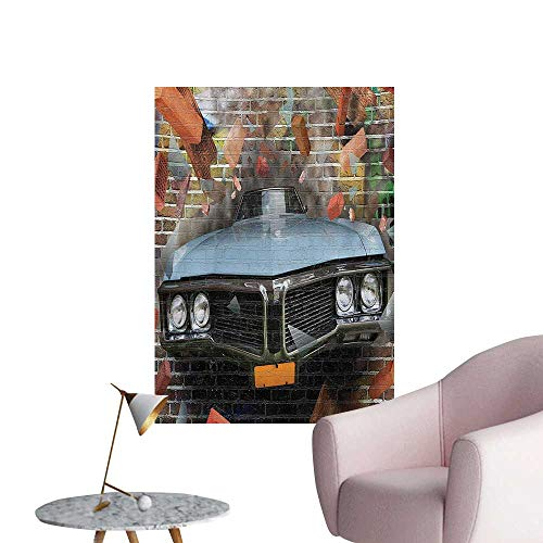 Anzhutwelve Cars Wallpaper Graffiti Featured Graphic of Crashing Automobile on A Brick Wall Underground Street StyleMulti W24 xL32 Funny Poster -