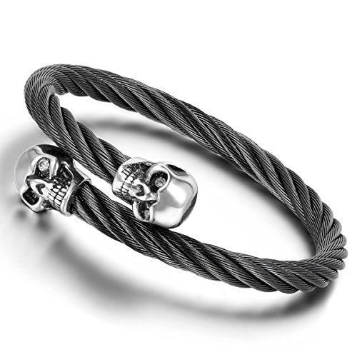 (Cupimatch Mens Gothic Double Skull Stainless Steel Twisted Cable Wire Cuff Bangle Bracelet,)