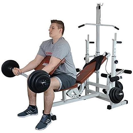TrainHard - Banco de pesas Fuerza Station Fitness Center Latzug marrón/blanco con largo de, Curl de y barras cortas y discos de 130 kg: Amazon.es: Deportes ...
