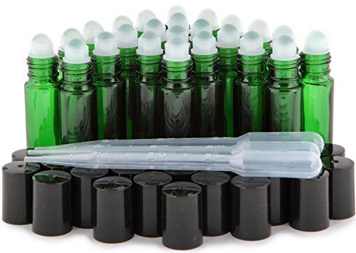 Vivaplex, 24, Green, 10 ml Glass Roll On Bottles with 3-3 ml Droppers …