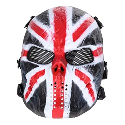 Skull Airsoft Party Mask Paintball Full Face Mask Army Games Mesh Eye Shield Mask for Halloween Cosplay Party Decor Cavalier ()