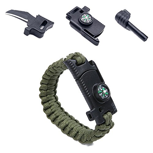 Camping Paracord Survival Bracelet Kit 500 LB Outdoor Hiking Travelling Hunting Gear Emergency Tactical Parachute Rope Bracelet Compass, Flint Stone, Fire Starter, Knife, Whistle Military