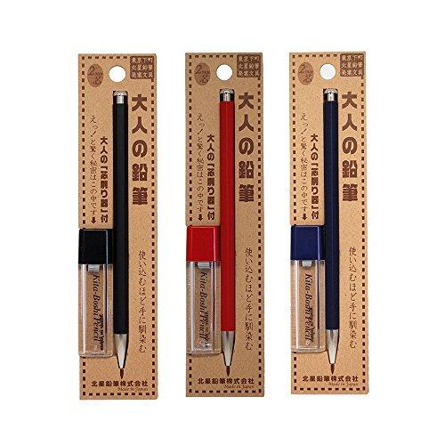 2 Mm Lead Holder - Kitaboshi Pencil Lead Holder 2mm , 3 Body Color Set , Black (OTP-680BST) / Red (OTP-680MST) / Navy (OTP-680IST) with Sharpener - Japan import (A-set)