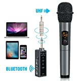 TONOR UHF Handheld Wireless Microphone with Mini Bluetooth Receiver 1/4 Output for Conference/Karaoke/Weddings/Church/Stage/Party