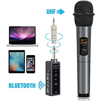 fifine uhf dual channel wireless handheld microphone easy to use karaoke wireless. Black Bedroom Furniture Sets. Home Design Ideas
