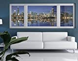 Window Mural Chicago Reflection window sticker window film window tattoo glass sticker window art window décor window decoration Size: 35.4 x 100.4 inches