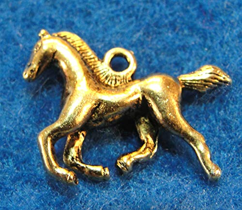 ue Gold 3D Horse Charms Pendants Earring Drops Finding HR34 Crafting Key Chain Bracelet Necklace Jewelry Accessories Pendants ()