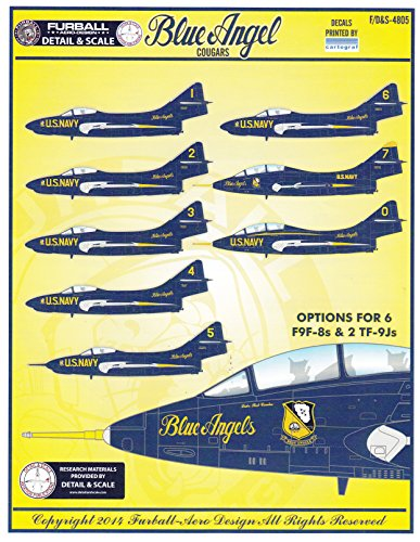 FURDS4805 1:48 Furball Aero Design F9F-8 TF-9J Blue Angel Cougars [WATERSLIDE DECAL SHEET]