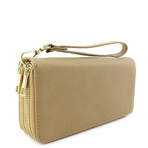 Double Zip Around Wristlet Wallet Tan - Tan Womens Wallet