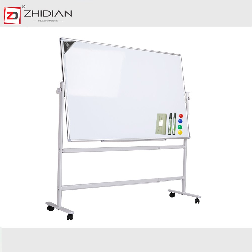 ZHIDIAN Office 36×24Inch Mobile Double Sided Magnetic White Dry Erase boards Stand Easel / 2 marker color magnet 4 eraser 1 Included