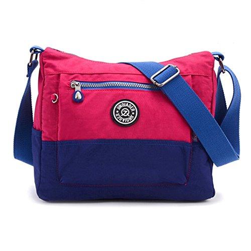 Bolso Tiny Chou con contrastes de colores, resistente al agua, de nailon, bolsa de hombro casual, cruzada al cuerpo, bolsa de viaje para niñas - morado (Plum)