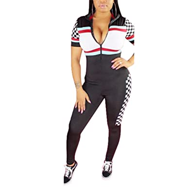 3537f6b8e17 Amazon.com  Bodycon One Piece Jumpsuit Outfits for Women Casual Printed  Short Sleeve Front Zipper Romper Pants  Clothing