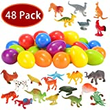 Toys : Joyin Toy 48 Pieces Easter Eggs Prefilled with Assorted Natural World Animal Figures Easter Basket Stuffer for Kids Easter Egg Stuffers Fillers