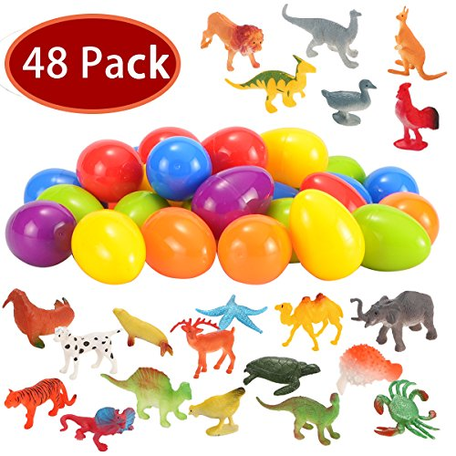 Joyin Toy 48 Pieces Easter Eggs Prefilled with Assorted Natural World Animal Figures Easter Basket Stuffer for Kids Easter Egg Stuffers Fillers