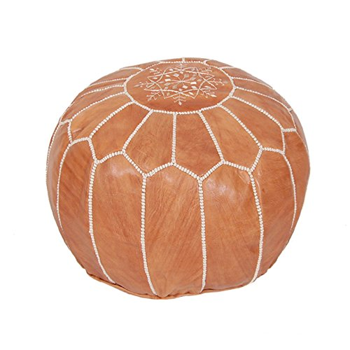 Moroccan Pouf Ottoman Footstool (Leather) Genuine Hand-Stitched Seating | Living Room, Bedroom, Sitting Area | Exclusive Designs (Tan) (Room Living Footstool)
