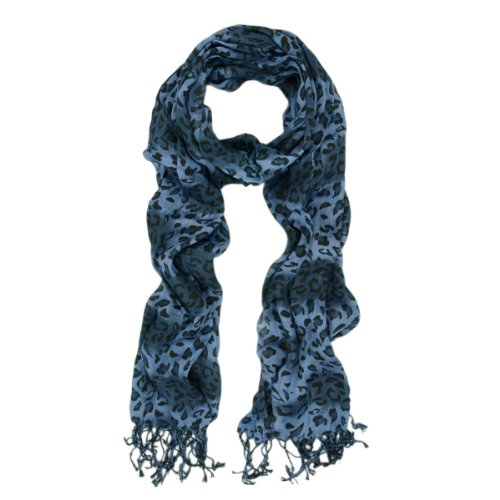 Blue Leopard Print (Elegant Leopard Animal Print Scarf with Fringe - Different Colors Available (Blue))