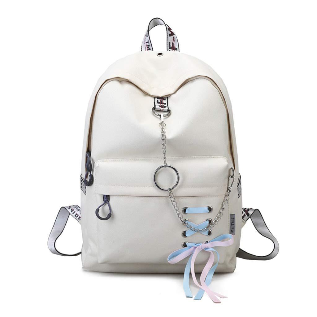 Tebatu Women Nylon Backpack Bag,with Ribbons Hanging Chain Ring Shoulder Bag Beige