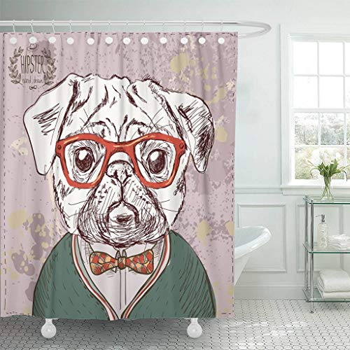Patterns Reverse Painting Glass (Emvency Fabric Shower Curtain with Hooks Brown Retro Vintage of Hipster Pug Dog with Glasses and Bow in on with Painting Animal 72