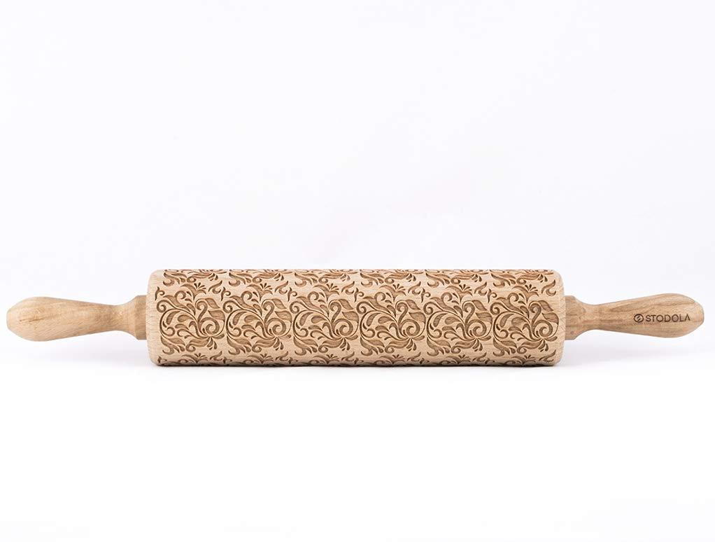 STODOLA Folk decorative - Engraved rolling pin for Embossed cookies 16.9-inch by STODOLA