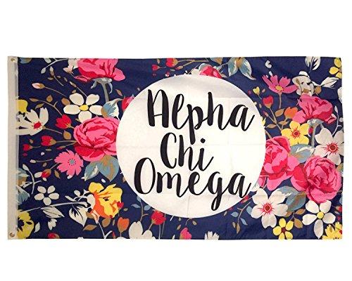 Alpha Chi Omega Floral Pattern Sorority Flag Banner Greek Sign Decor AXO ()