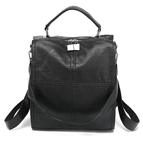 Leparvi Women Backpack Purse Leather Shoulder Bag Square Rucksack Vintage ()