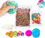 Arts & Crafts : SENSORY WATER BEADS PACK + STRESS BALL FOR KIDS [20,000 Small/100 Large/6 Balloons] Squishy Water Gel Beads Pack for Sensory Kids - Best Tactile Sensory Toys for Kids with Autism ADHD & Sensory Needs