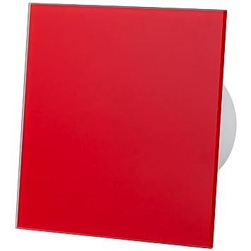 Vidrio Rojo Panel Frontal 100mm Ventilador Extractor Sensor de Movimiento Ventilación Techo Pared
