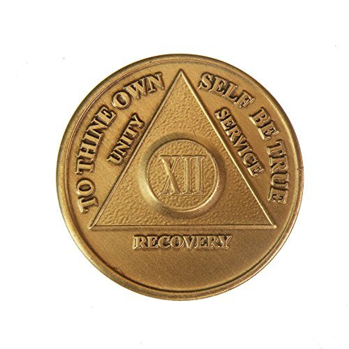12 Year Bronze AA (Alcoholics Anonymous) - Sober / Sobriety / Birthday / Anniversary / Recovery / Medallion / Coin / Chip