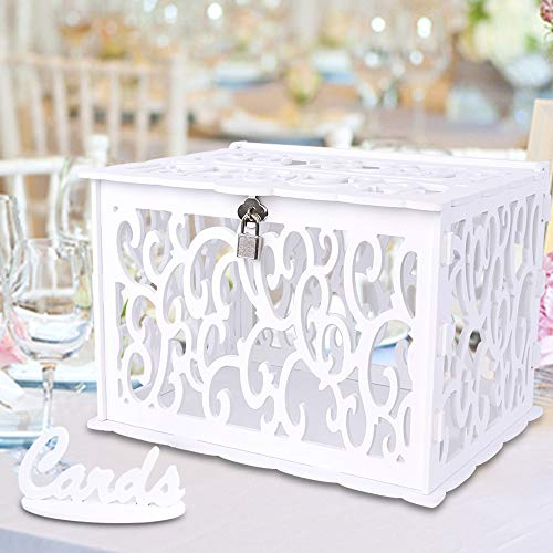 OurWarm White Card Box for Wedding DIY Gift Card Box with Lock, PVC Graduation Card Box Money Box for Wedding Reception Birthday Baby Shower Graduations Party Supplies -