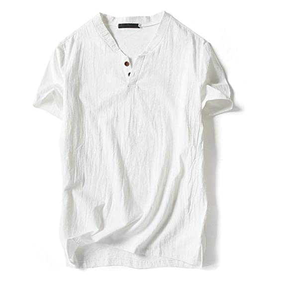 Men Summer Soft Cotton Linen 2 Buttons Breathable T-shirt