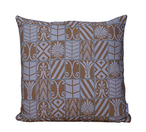 WOVENMOSAIC Geometric Grid Throw Pillow Cover or Cushion Cover 100% Cotton Jacquard Weave, 18 X 18 Inch, with Solid Backing