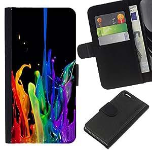 EJOY---La carpeta del tirón la caja de cuero de alta calidad de la PU Caso protector / Apple Iphone 5C / --Negro Agua Limpia Dinámica de Fluidos