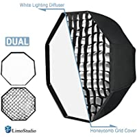 LimoStudio 32 Diameter Octagon Umbrella Reflector Soft Box with Honeycomb Grid and White Lighting Diffuser Cover for Soft Lighting, Photo Video Studio, AGG2599